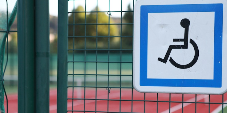 Thumbnail of disabled sign on tennis court gate