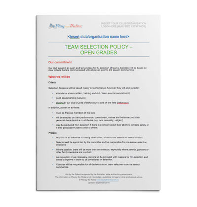 Open Grades Team Selection Policy template